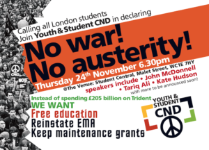 CORRECTED YouthCND NoWar NoAusterity 24Nov