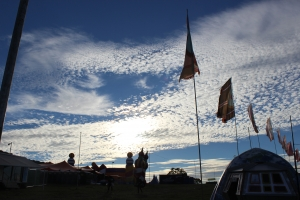 Evening skies at Bestival after a hard day of collecting signatures